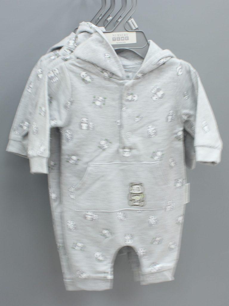 Owen grey baby suit with hood £8.00