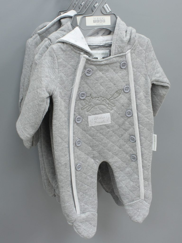 Jack grey baby suit with hood £13.00