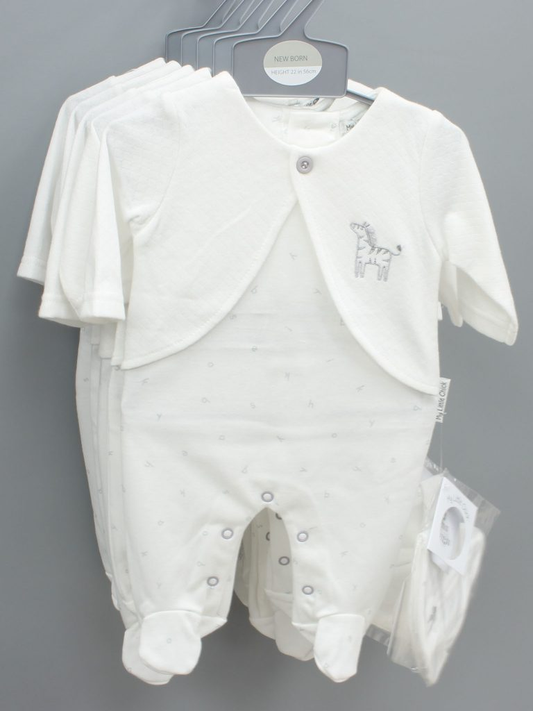 Grayson white baby suit with hat £12.00