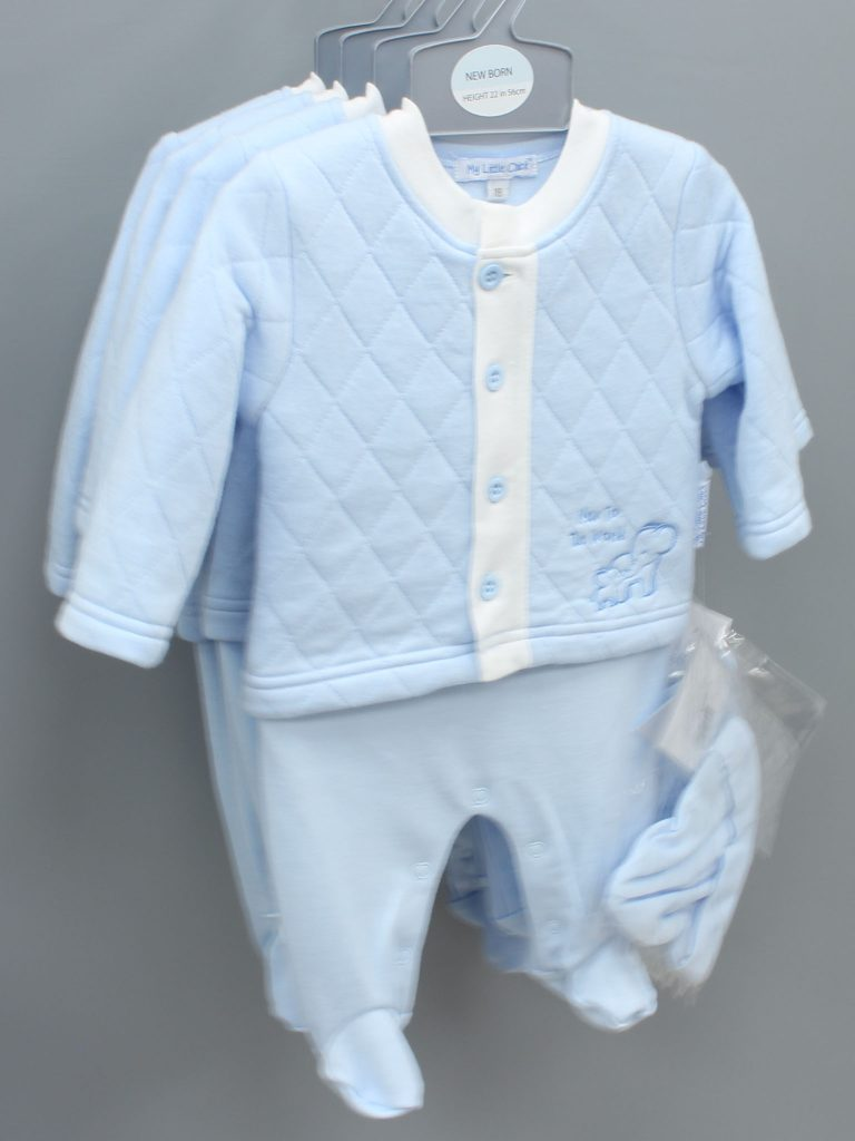 Lincoln blue baby suit with hat £14.00