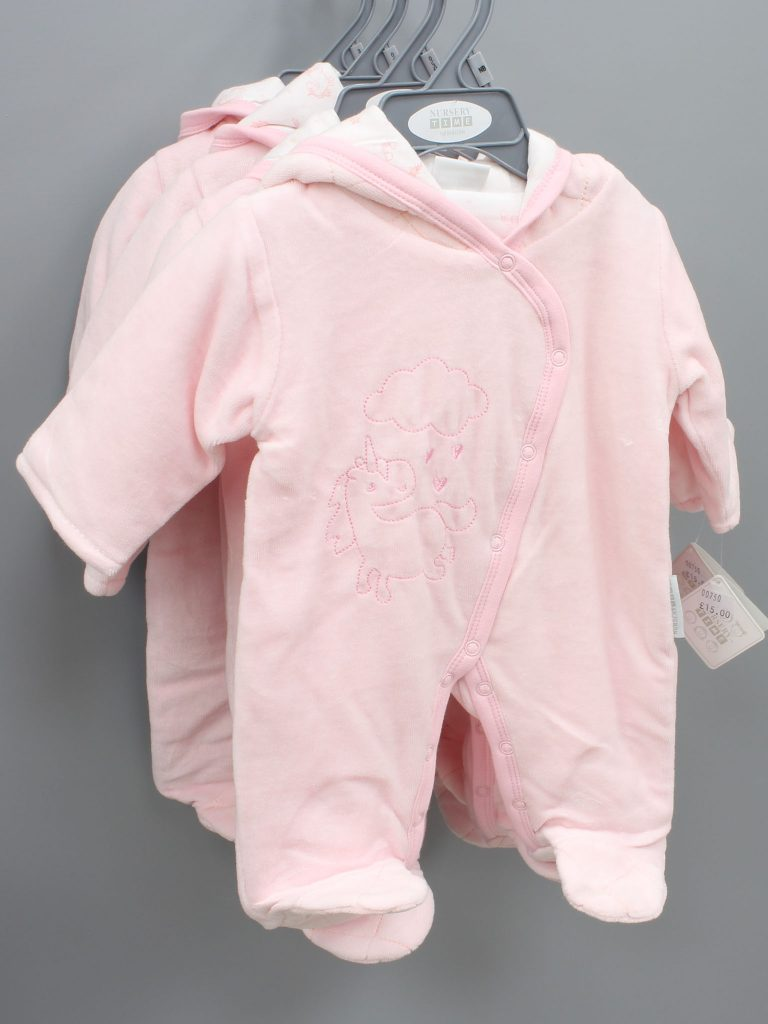 Everly pink baby suit with hood £15.00