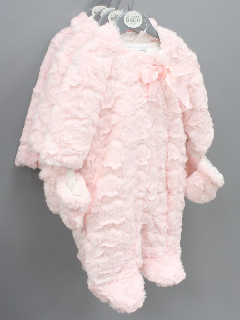 Caroline pink baby suit with hood and mittens £17.00